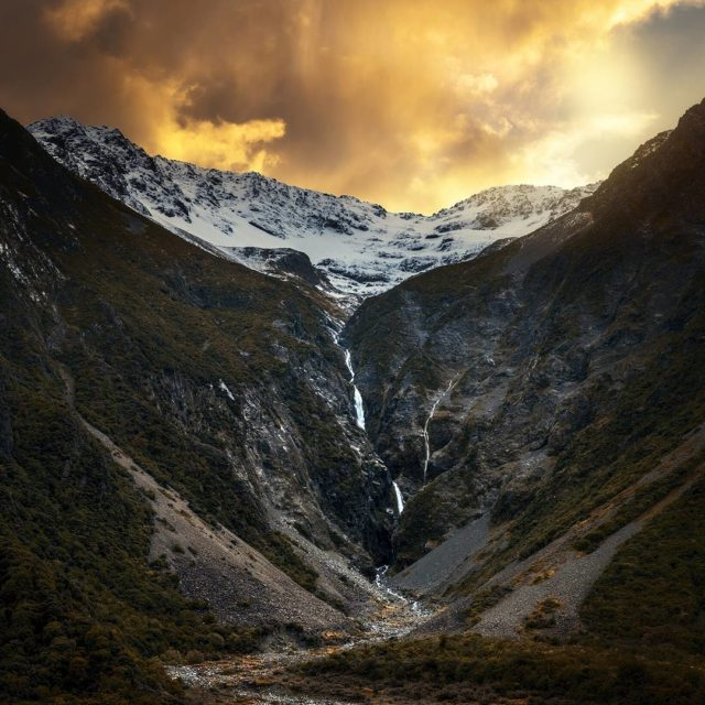 Driving down the Tasman Valley is such an experience Waterfallshellip